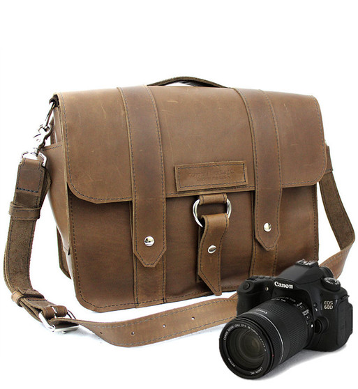 """15"""" Large Sonoma Journeyman Brown Camera Bag in Brown Oil Tanned Leather"""