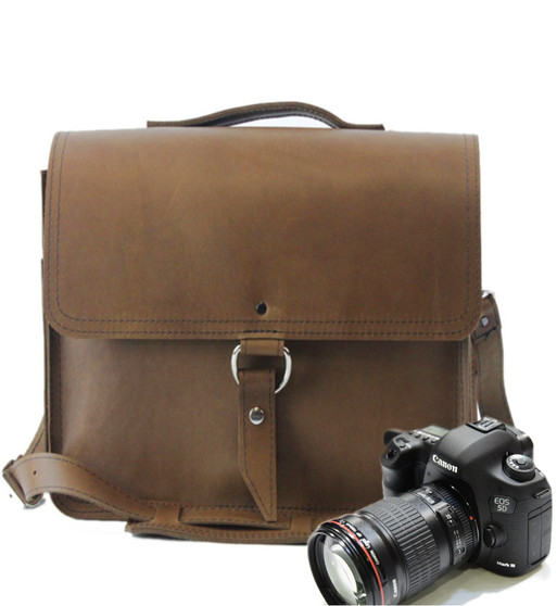 """10""""Small Napa Midtown Camera Bag in Brown Oil Tanned Leather"""