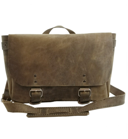 """14"""" Medium Lewis & Clark Courier Mail Bag in Distressed Tan Oil Tanned Leather"""