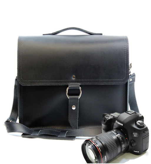 "10"" Small Napa Midtown Camera Bag in Black Napa Excel Leather"