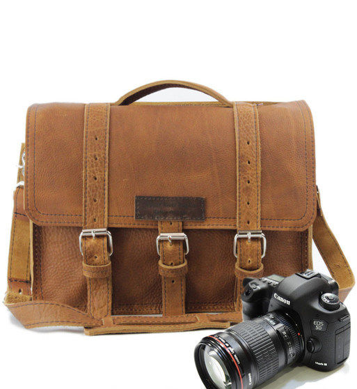 """15"""" Large Sonoma BuckHorn Camera Bag in Tan Grizzly Leather"""