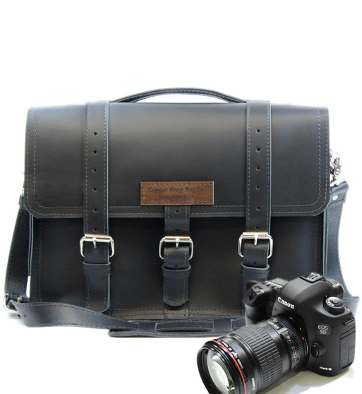 """15"""" Large Sonoma BuckHorn Camera Bag Black Excel Leather"""
