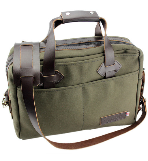 "15"" Classic Briefcase in Forest Green Water Resistant Roomy Cotton Duck"