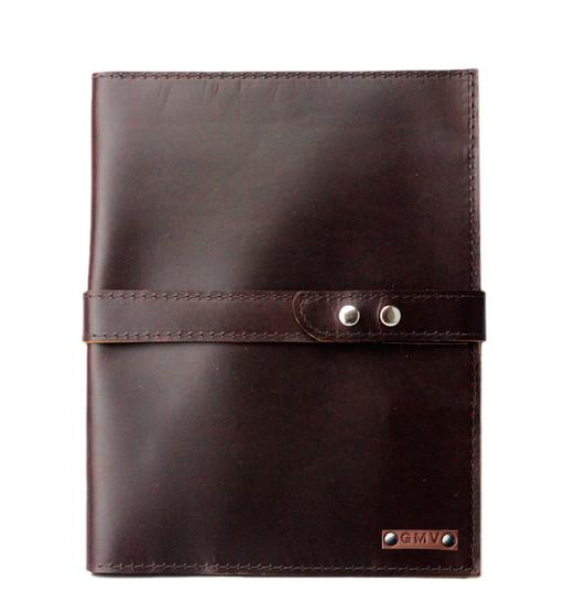 Executive Padfolio 8.5X11 in Chocolate Brown Latigo Leather with Chocolate Brown Strap Made in the U.S.A. - PDF-COF-EXL-COF-EXL-STRP-8.5X11
