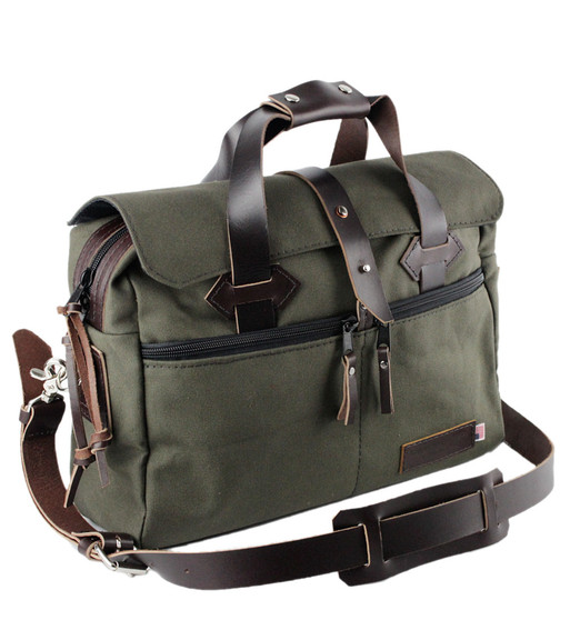 24-Hour 16 inch Duffel / Briefcase - Water Resistant Roomy Cotton Duck - GREEN - 16-CD-GR-24HR-BRIF