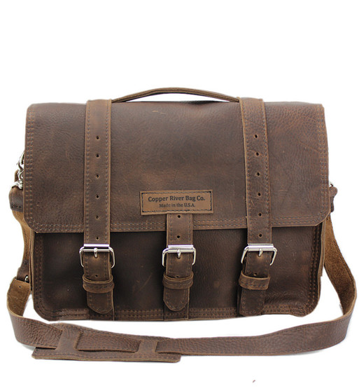 """15"""" Large Sierra BuckHorn Leather Laptop Bag in Chocolate Grizzly leather"""