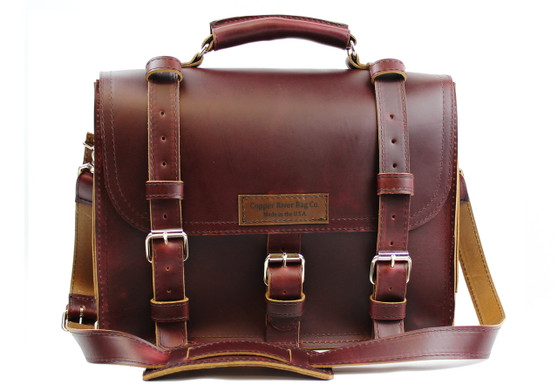 """15"""" Large Lincoln Classic Briefcase in Burgundy Red Leather"""