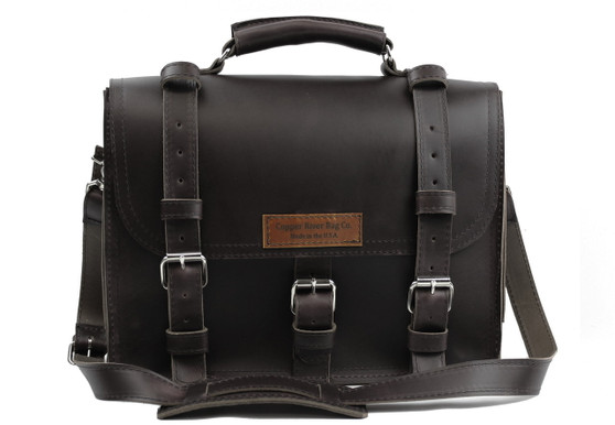"""15"""" large Lincoln Classic Leather Briefcase in Black Excel  Leather"""