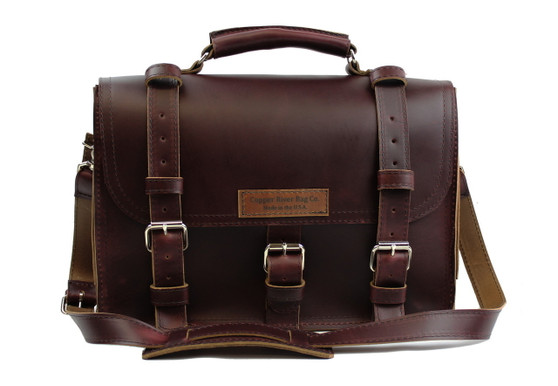 """15"""" Large Lincoln Classic Briefcase in Coffee Brown Leather / Lined with Suede"""