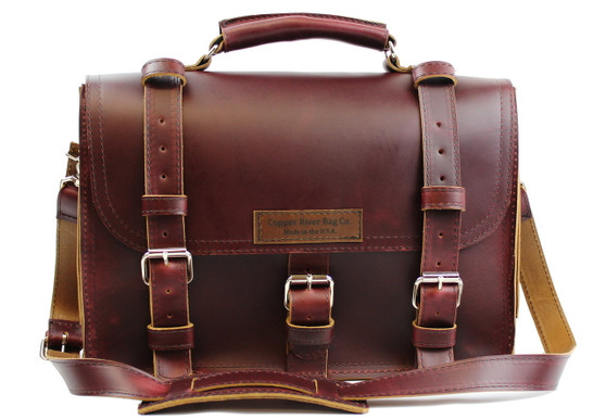 """17"""" X-Large Lincoln Classic Briefcase in Burgundy Red Leather / Lined With Suede"""