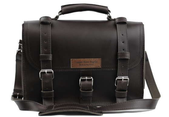 """17"""" X-Large Lincoln Classic Briefcase in Black Leather"""