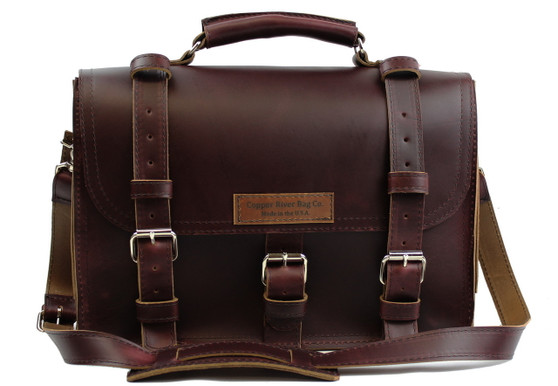 """17"""" X-Large Lincoln Classic Briefcase in Coffee Brown Leather"""