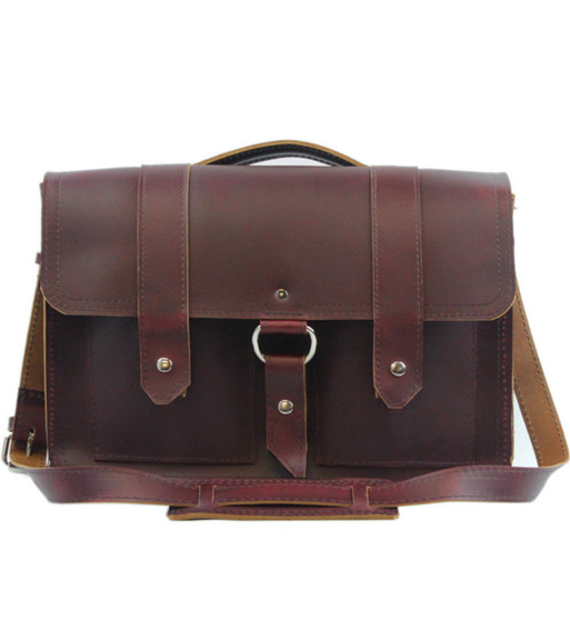 """15"""" Large Classic Alpine Briefcase in Burgundy Red Napa Excel Leather"""