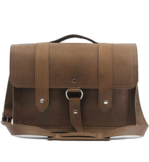 """17"""" X-Large Classic Alpine Briefcase in Brown Oil Tanned Leather"""
