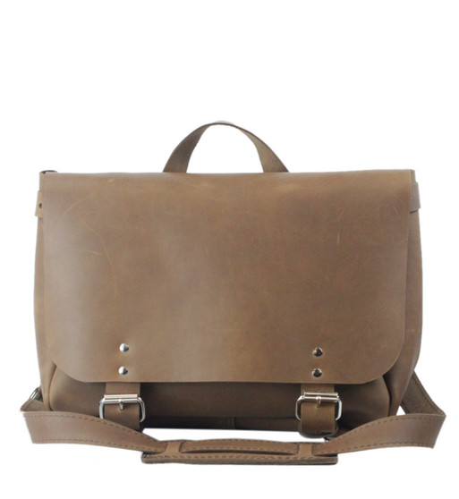 """14"""" Medium Lewis & Clark Courier Mail Bag in Brown Oil Tanned Leather"""