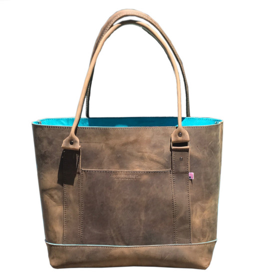 Westfield Tote Bag - Distressed Oil Tanned Leather / Suede Lined
