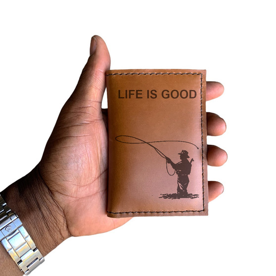 Life is Good Fly Fishing Roughman NewYorker Wallet in Distressed Tan Leather