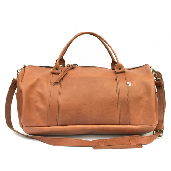 "20"" Leather Duffel Travel Bag in Vintage Tan Excel Leather"