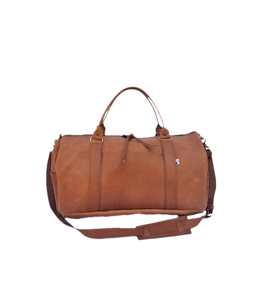"""16"""" Everyday Leather Duffel Gym Bag in Vintage Tan Excel Leather"""