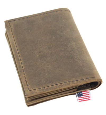 Life is Good Golf Roughman NewYorker Wallet in Distressed Tan Leather