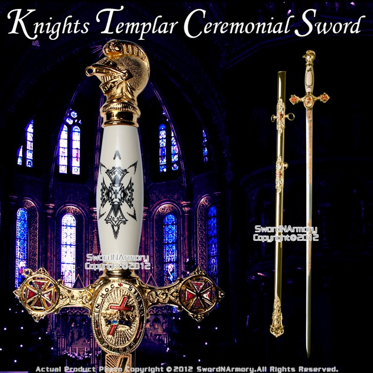 Knights Templar Freemason Masonic Ceremonial Sword Gold Regalia 3 Blade  Lengths