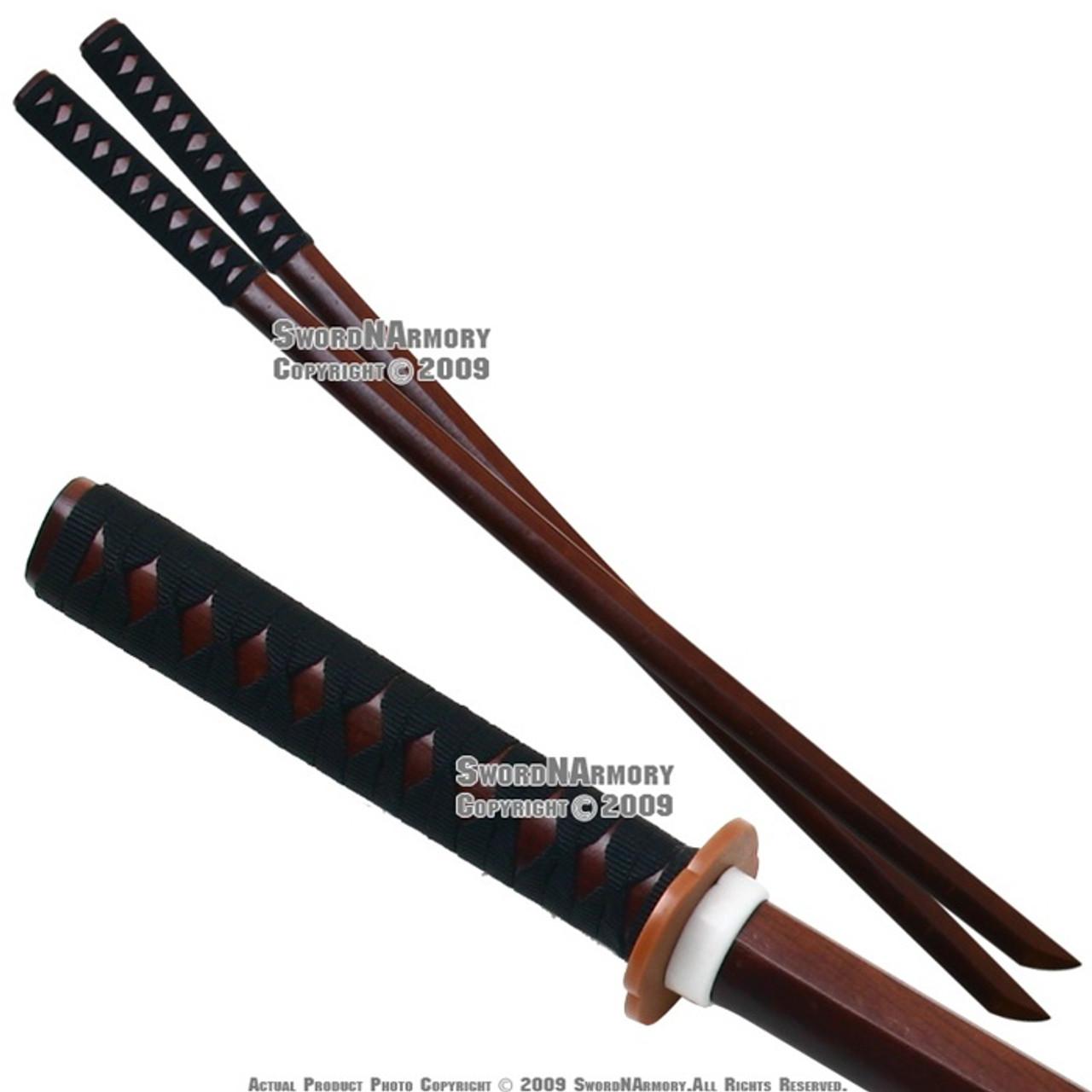 Natural Bokken with Black Cord Wrap Hardwood Training Wooden Sword