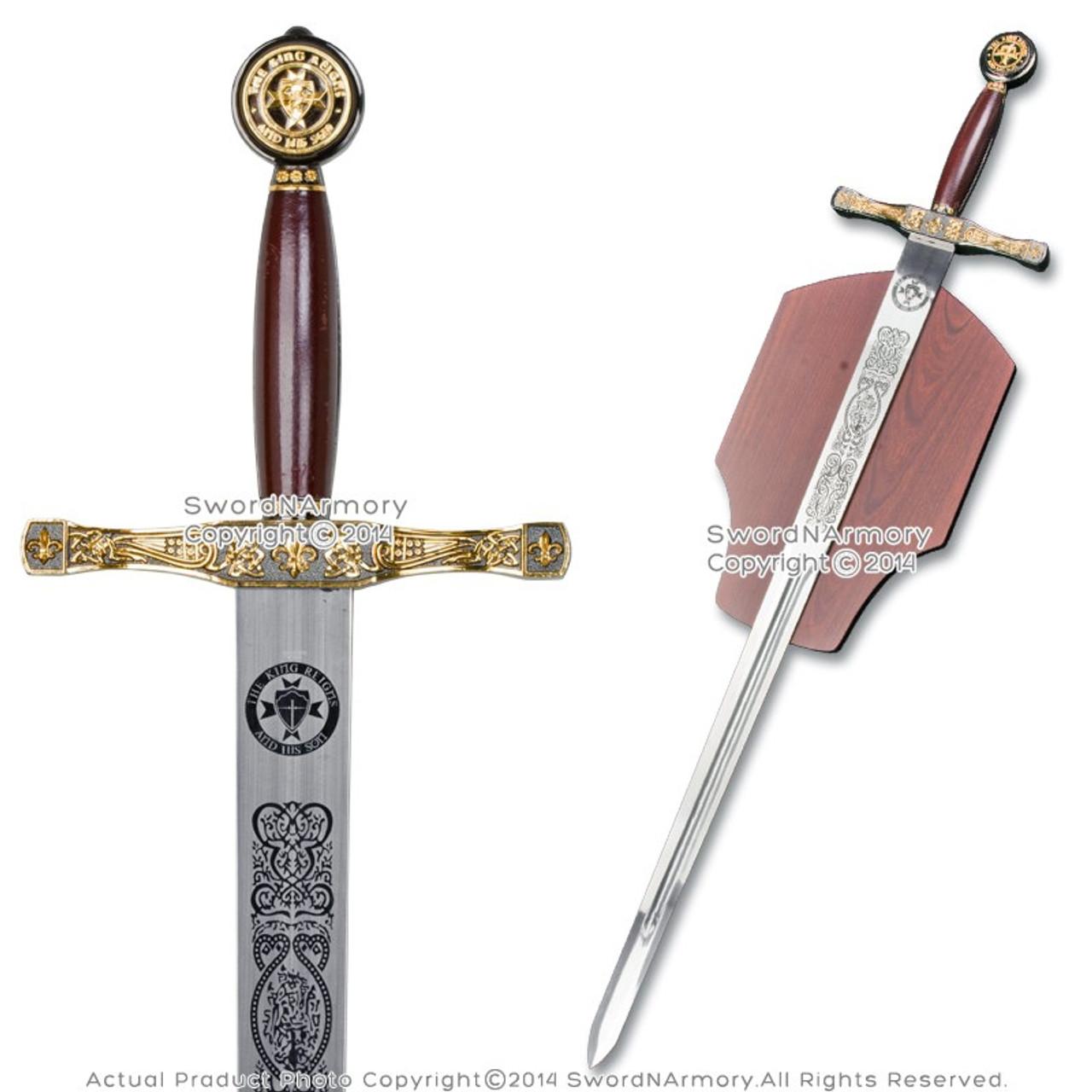 King Arthur Excalibur Medieval Crusader Knights Long Sword Movie Replica w/  Plaq