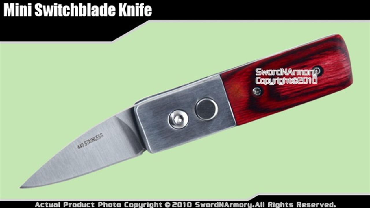 Mini Switchblade Knife w/ Wood Handle 1 95