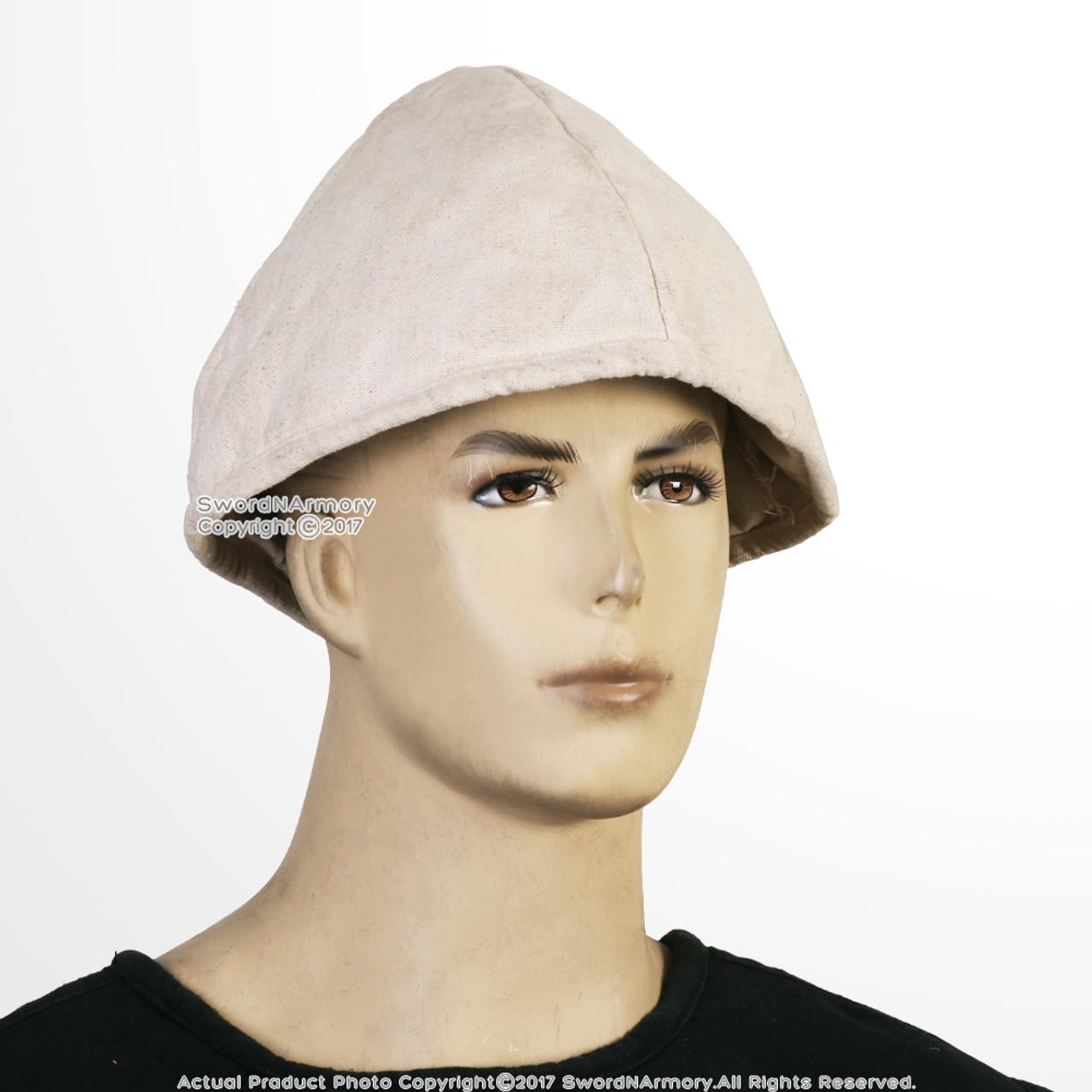 Medieval Renaissance Middle Ages Cotton Padded Battle Coif Arming Cap Hat Black
