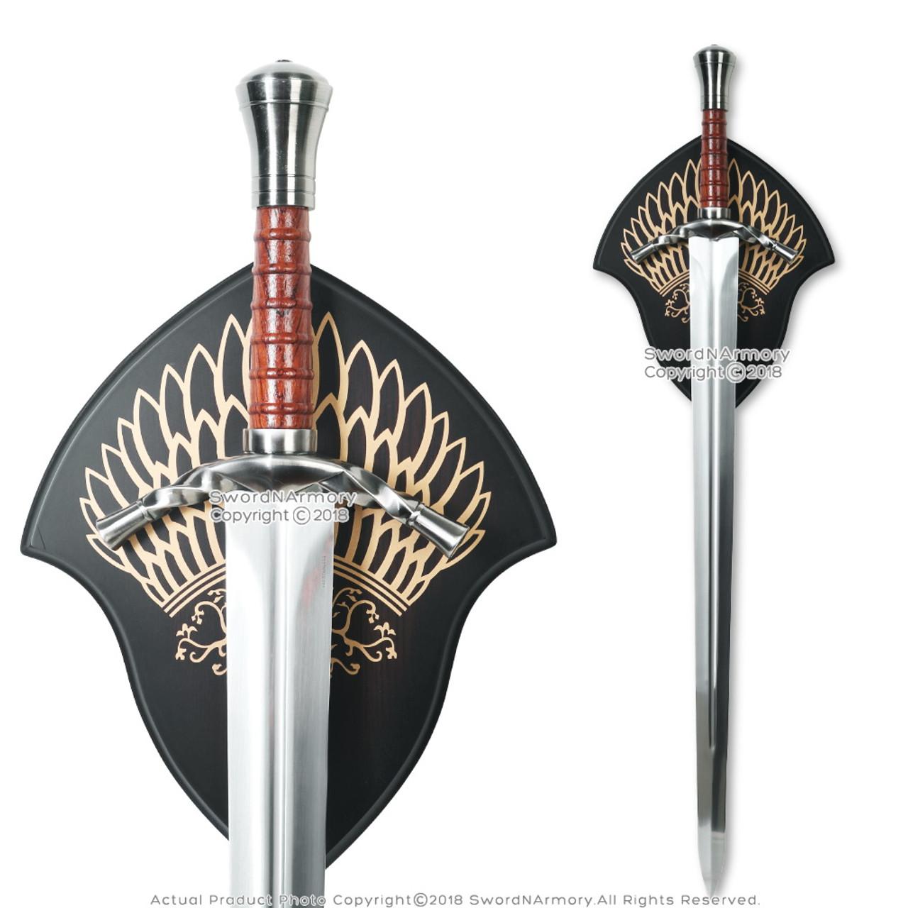 "38"" Aragorn Boromir Sword with Sheath Silver Version Fantasy Cosplay LARP"