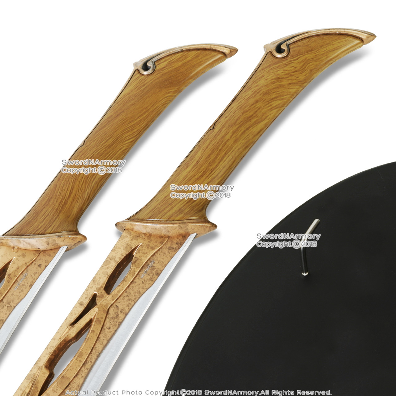 """19"""" Set of 2 Fighting Knives of Tauriel Daggers Short Swords with Wooden Plaque"""