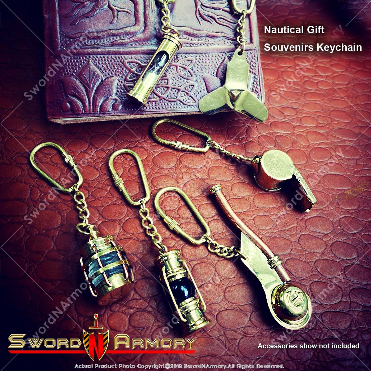 Detailed Anchor with Rope Image Black Leather Keyring in Gift Box