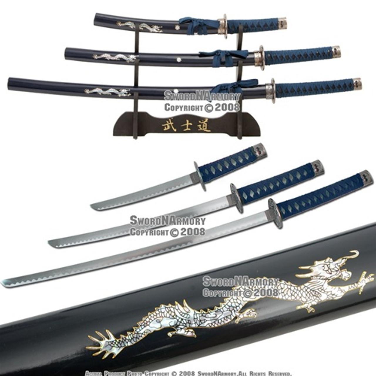 Set of 4PCS Japanese Samurai Katana Sword w// Black Scabbard Dragon Body Handle