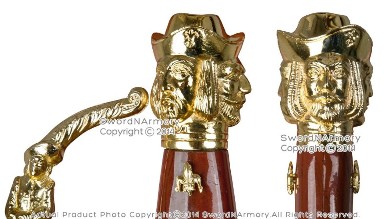 Medieval Spanish Rapier Sword Basket Cup Hilt Gold Finish with Display Plaque