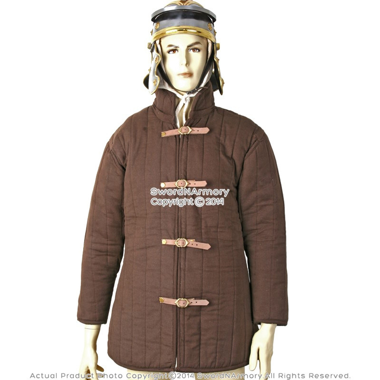 Medieval Renaissance Full Sleeves Gambeson in Brown Colour SCA-LARP