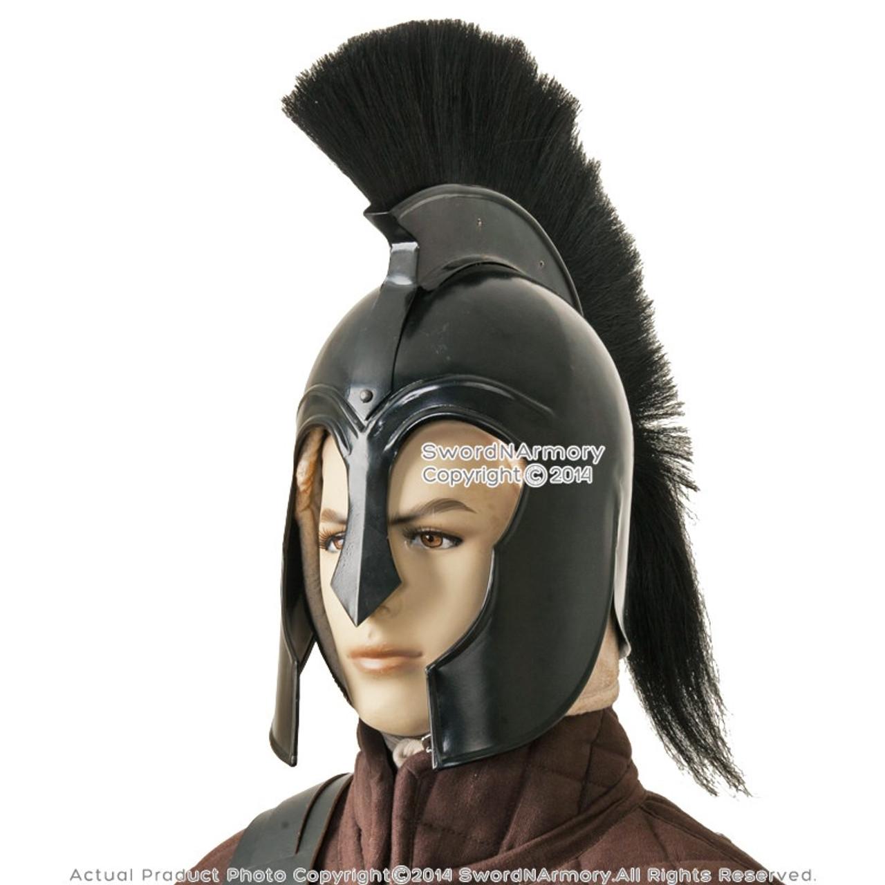 Black Trojan 300 Spartan Greek Troy Helmet with Liner & Plume Costume Armor  LARP