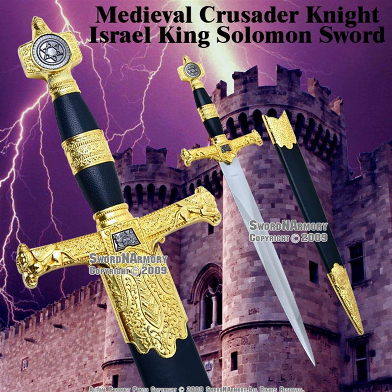 Short King Solomon Sword Fantasy Medieval Dagger with Scabbard