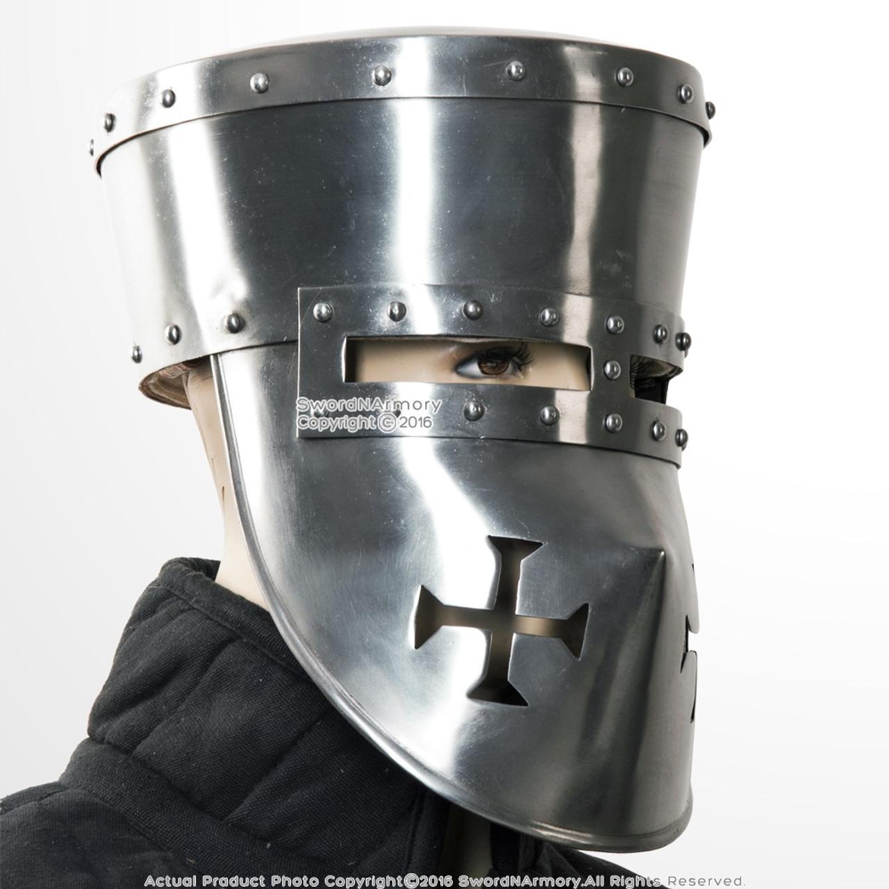 Functional 16G Steel Crusader Knights Templar Helmet Great Helm WMA SCA LARP