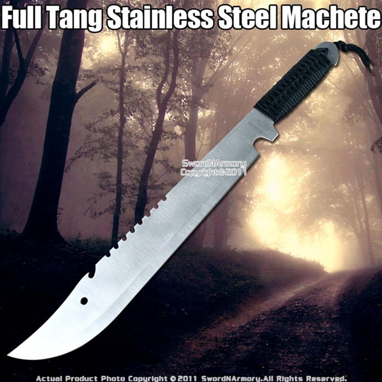 Full Tang Jungle Machete Camping Sword W Sheath Serrated