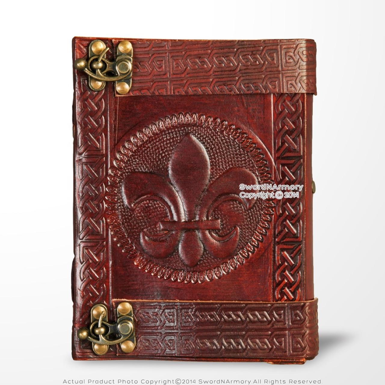 Medieval Genuine Leather Journal Diary Parchment Paper Notebook Fleur de Lis
