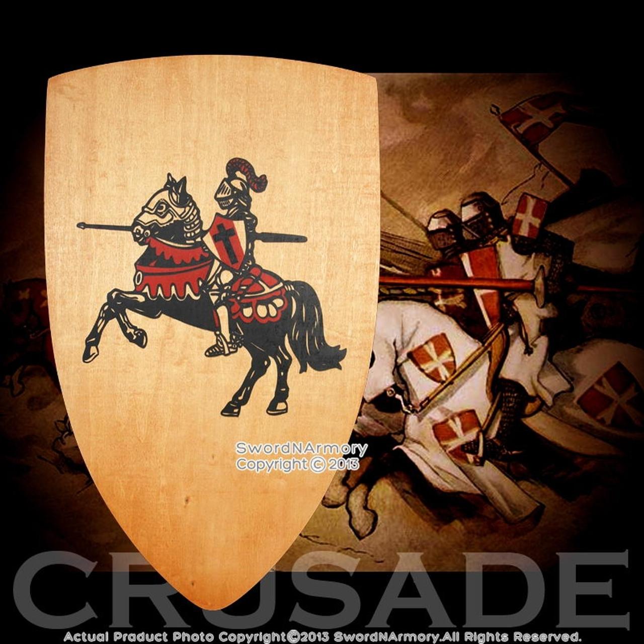 "14/"" Wooden Medieval Crusader Shield Plywood w// Blue Fleur de Lis Flower /& Grip"