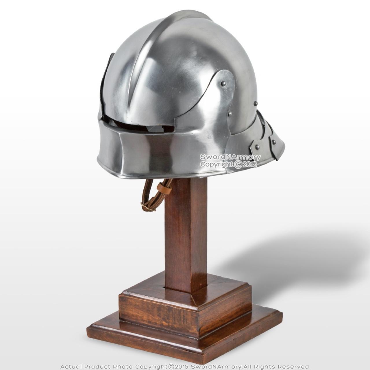Functional Medieval German Sallet Fighting Combat Helmet Articulate Tail  16G SCA