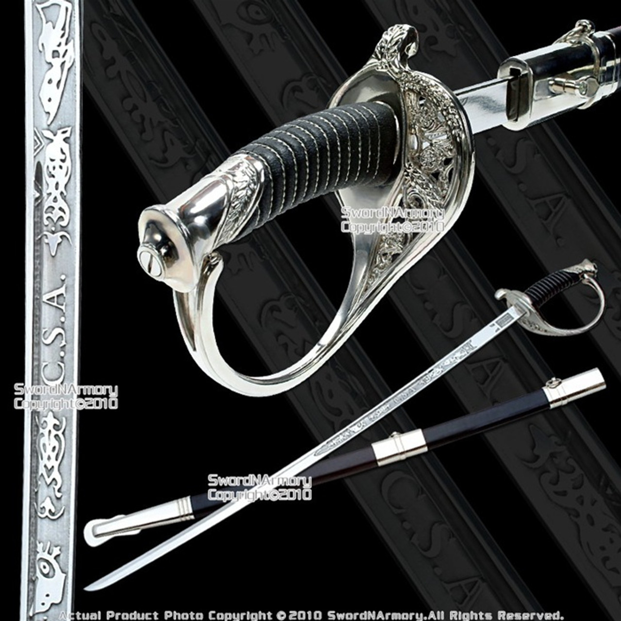 """Full Size 39/"""" Civil War CSA Confederate Cavalry Officer Sword Saber Gold C.S.A."""