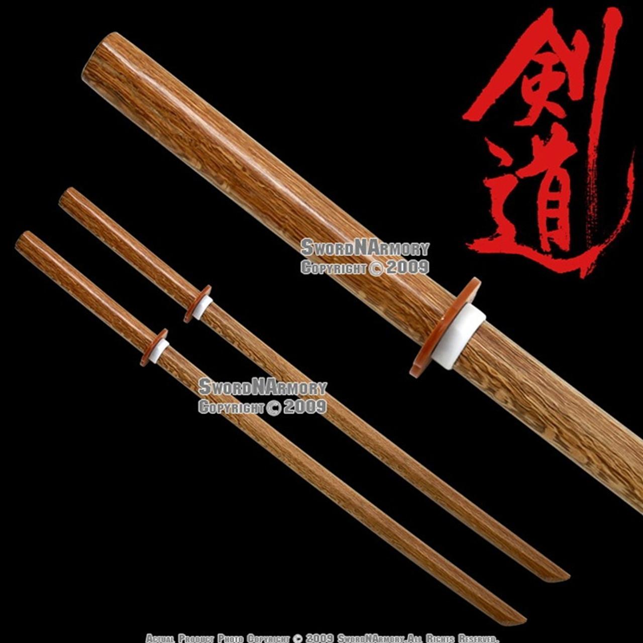 2Pcs Set Wakizashi Size Wooden Bokken Sword Practice Katana w// Dragon Engraved R