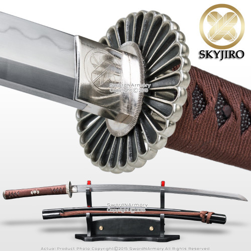 Skyjiro Chrysanthemum Handmade 1075 DH Forge Folded Steel Samurai Katana Sword