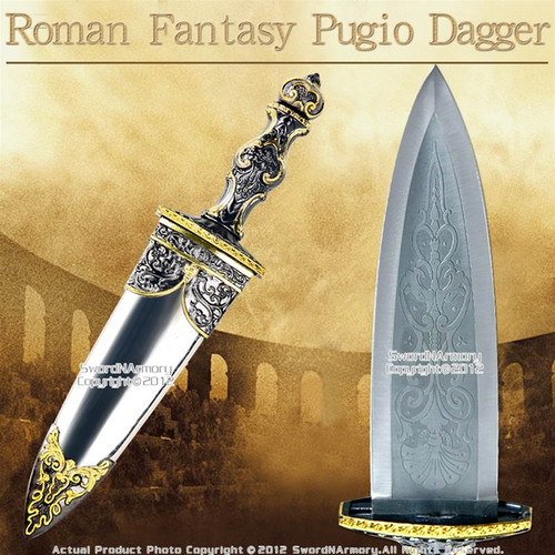 Historical Roman Short Sword Fantasy Pugio Dagger Gladiator Knife with Sheath