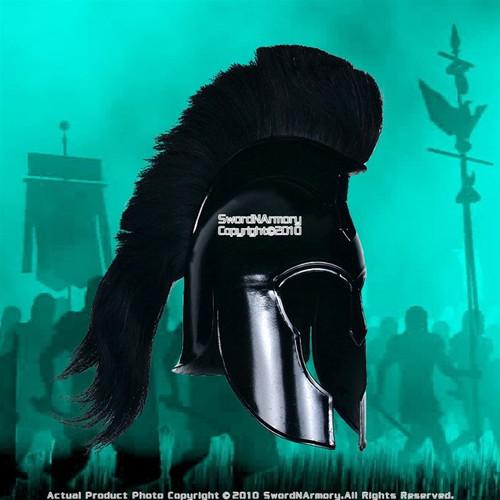Spartan Greek Black Steel Helmet W/ Plum Costume Armor