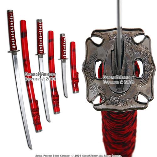 Classic Red Smoke Japanese Samurai Katana Sword Set with Stand