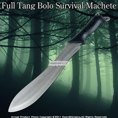 Full Tang Bolo Survival Machete Knife W Shoulder Sheath