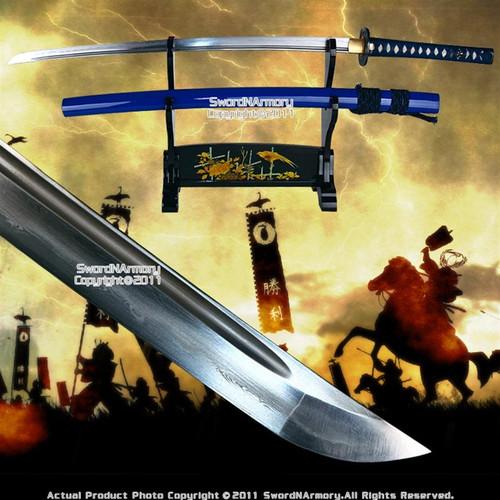 Blue Handmade Musashi Forge Folded Katana Samurai Sword